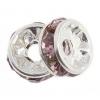 Rhinestone Rondelle (Flat Round) 6mm Silver/ Light Amethyst